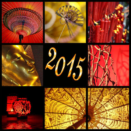 2015, Asia red and gold photo collage photo