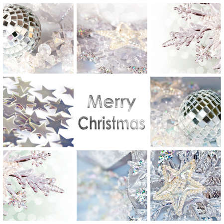 Square greeting card merry christmas, collage with shiny decorations photo