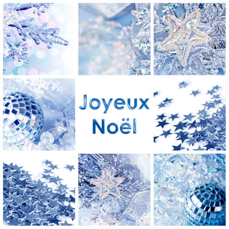 square greeting card joyeux noel meaning merry christmas in french collage with shiny decorations - Merry Christmas Meaning