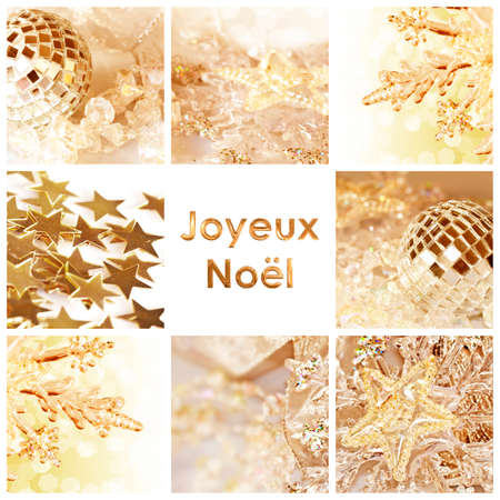 french text: Square greeting card joyeux noel, meaning merry christmas in French, collage with shiny decorations Stock Photo