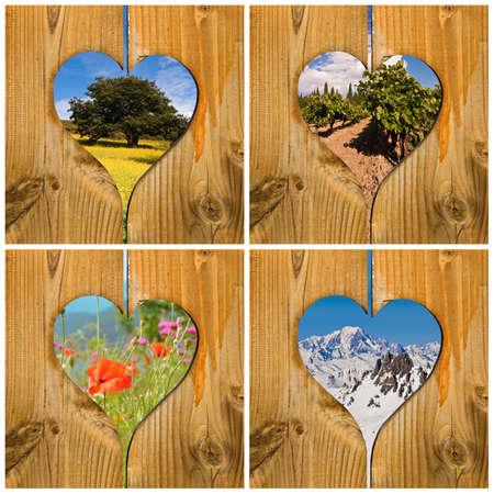 Four seasons collage concept with wooden hearts Foto de archivo