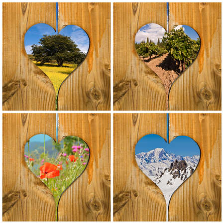 Four seasons collage concept with wooden hearts Reklamní fotografie