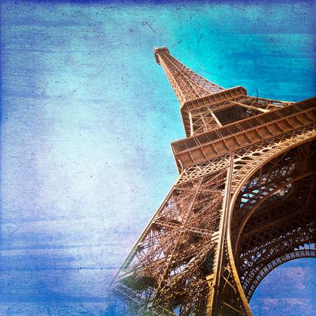 parisian: Eiffel tower on blue background vintage style, Paris France