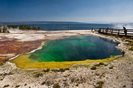 hot spring: Colorful hot spring near Lake Yellowstone, USA Stock Photo