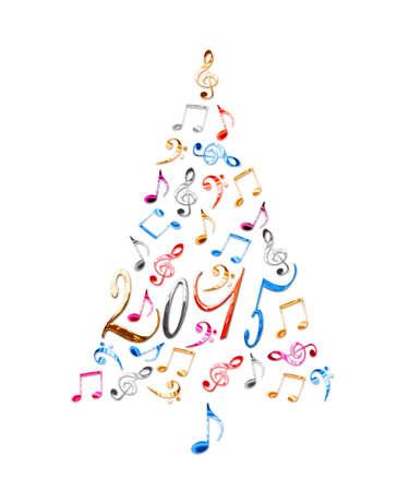 2017 árbol De Navidad Con Las Notas Musicales De Metal De Plata ...