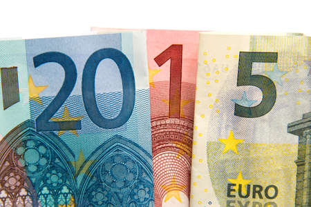 CLose up on 2015 written with euros bank notes photo