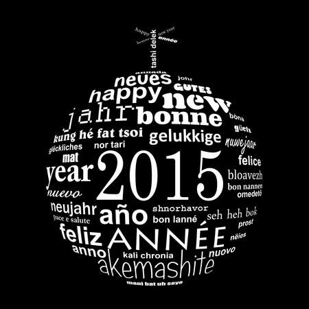 multilingual: 2015 new year multilingual text word cloud greeting card in the shape of a christmas ball
