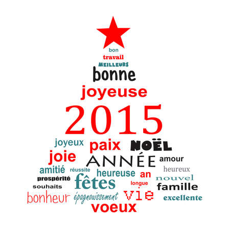 2015 new year french text word cloud greeting card in the shape of a christmas tree photo