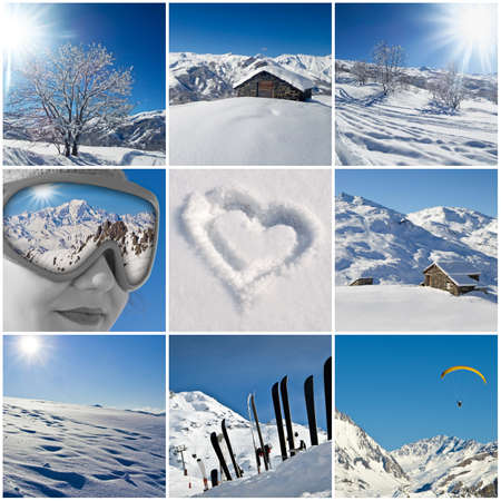 Winter snowy landscape collage photo