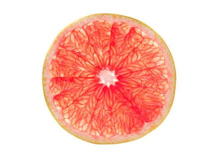 白い背景に分離されたピンク グレープ フルーツ スライス 写真素材