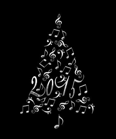 2015 christmas tree with silver metal musical notes isolated on black background photo