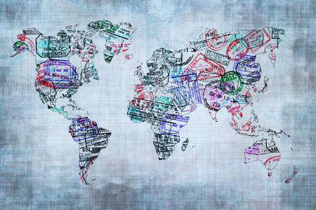 sello: Mapa del mundo creado con sellos de pasaporte, el concepto de viaje