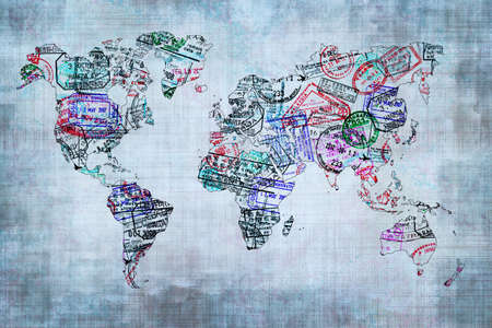 world map countries: World map created with passport stamps, travel concept