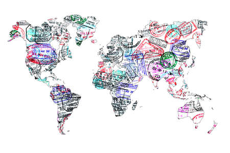 passport background: World map created with passport stamps, travel concept