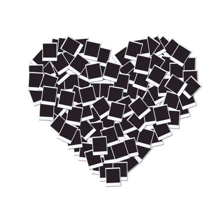 Heart made with blank photo frames, isolated on white background Standard-Bild
