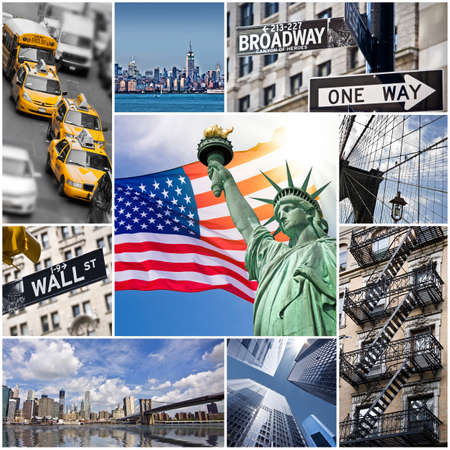 new york cityscape: New York City collage, USA