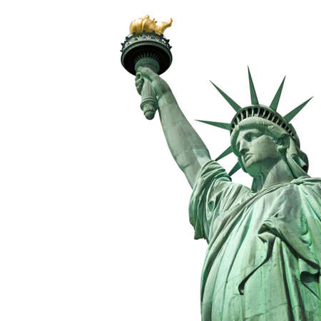 Statue of Liberty isolated on white background with copy space