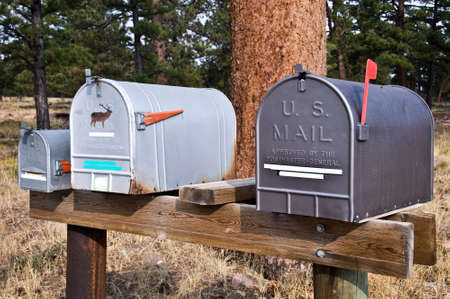 america countryside: American mailboxes in a forest, USA