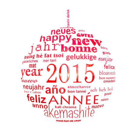 fond de texte: 2015 nouvelle ann�e mot de texte multilingue nuage carte de voeux dans la forme d'une boule de no�l Banque d'images