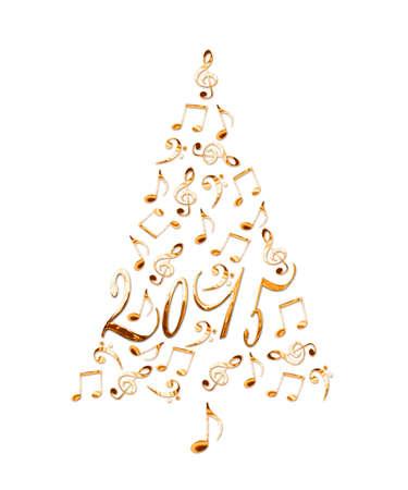 2016 árbol De Navidad Con Las Notas Musicales De Metal De Oro ...