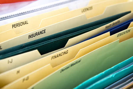 Close up of domestic personal files in expanding pocket folders Banque d'images