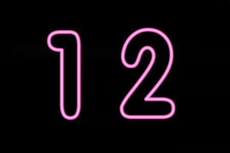 numeracy: Pink neon characters & @ on black background