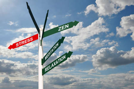destress: Zen stress direction signs concept