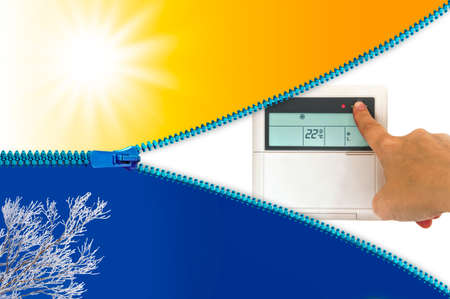 cooling: Heating and cooling air conditioner concept Stock Photo