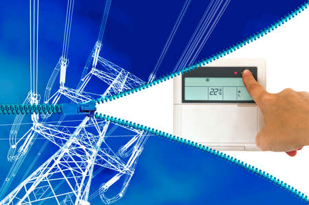 electric system: Electric heating or cooling system concept Stock Photo