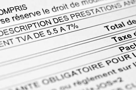 vat: Close up of a french invoice with a VAT increase Stock Photo
