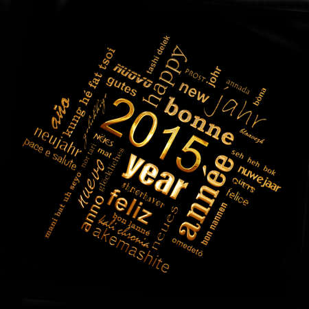 text word: 2015 new year multilingual text word cloud square greeting card