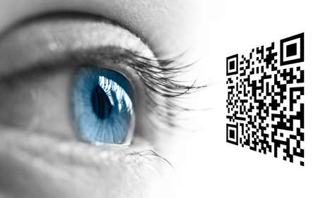 Close up of a blue eye and QR code