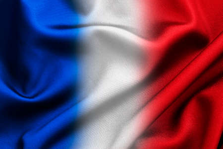 french flag: Blue white and red silky fabric background