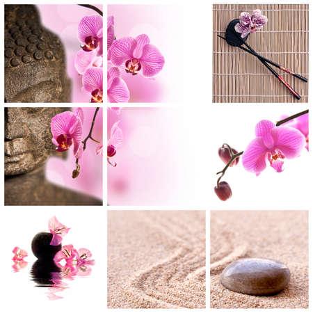 stone buddha: Buddha and pink phalaenopsis orchid collage Stock Photo