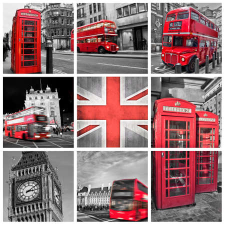 bus anglais: Londres photos collage, la couleur s�lective