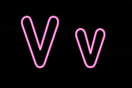 v alphabet: Pink neon letters V on black background