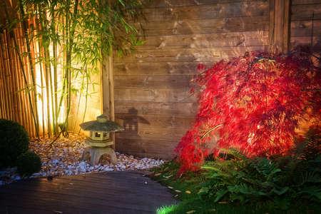 Linterna de piedra japonés y el árbol de arce rojo en un jardín zen iluminado por las luces del punto en la noche Foto de archivo - 34142998