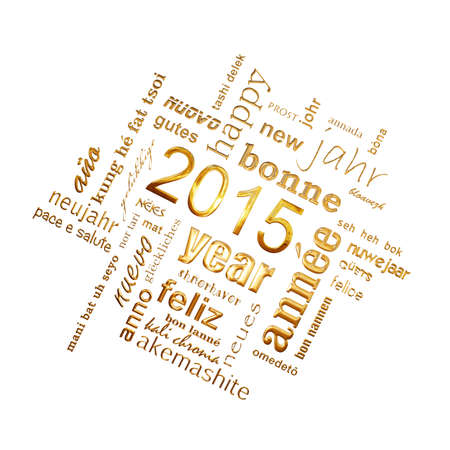 multilingual: 2015 new year multilingual text word cloud square greeting card