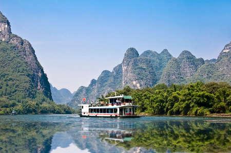 guilin: Boat on the river Li (lijang) between Guilin and Yangshuo, Guangxi, China