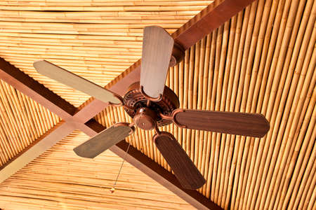 ceiling fan: Wooden ceiling fan on a bamboo ceiling tropical style