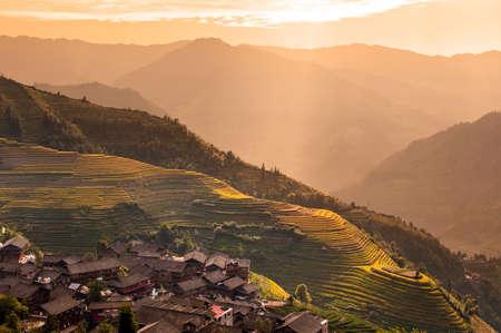 guilin: Terraced rice fields near Guilin, Guangxi, China