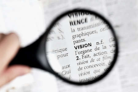 thesaurus: Magnifying glass on the word vison in a French dictionary Stock Photo