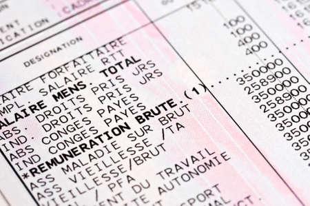 ingresos: Detalle de una boleta de pago anónimo francés Foto de archivo