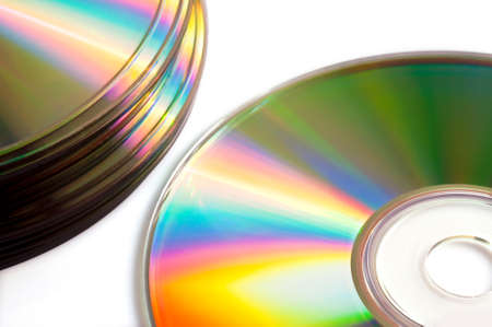 compact disk: Close up of of blank compact disk or dvd, isolated on white background Stock Photo