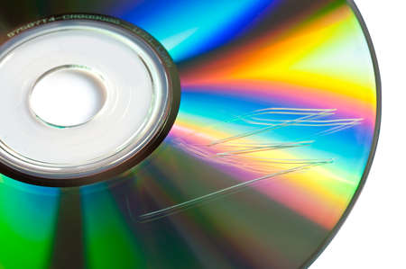 scratched: Scratched cd or dvd close up, data loss concept