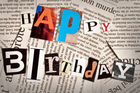 Happy birthday collage with newspaper and magazine letters on newspaper background photo