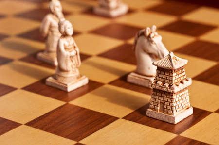 Close-up van witte Chinese antieke schaakstukken Stockfoto