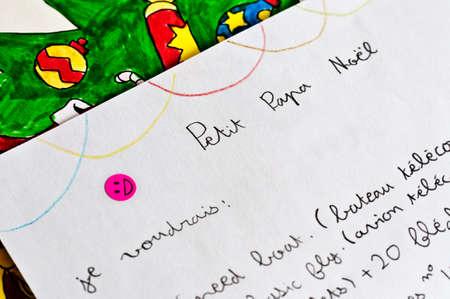 papa noel: Child letter to Santa Claus (papa Noel) written in French Stock Photo