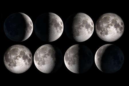 noche y luna: Fases de la luna Foto de archivo