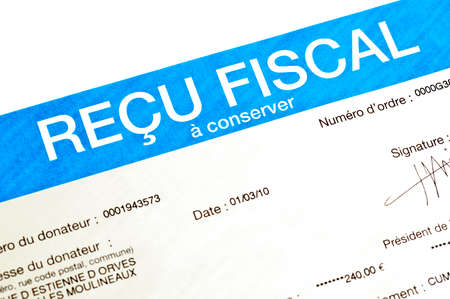 fiscal: Detail of a French anonymous receipt for donations deductible from income tax (recu fiscal = fiscal receipt)